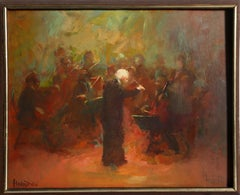 Conductor with Orchestra, Figurative Oil Painting by William Harnden