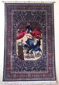 Moses and the Ten Commandments (Passover), Large Tapestry Rug by Shlomo Katz