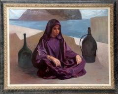 Bedouin Woman in Purple, Oil Painting