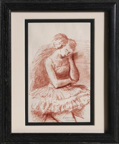 Pensive Dancer, Ink Drawing by Raphael Soyer