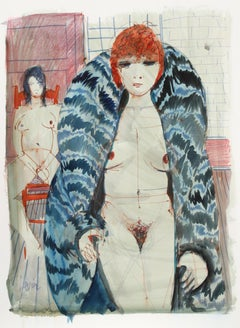Nude in Furs, Watercolor Painting by Charles Levier