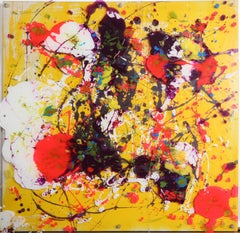 Yellow Abstract, Acrylic Painting with painted Plexi overlay