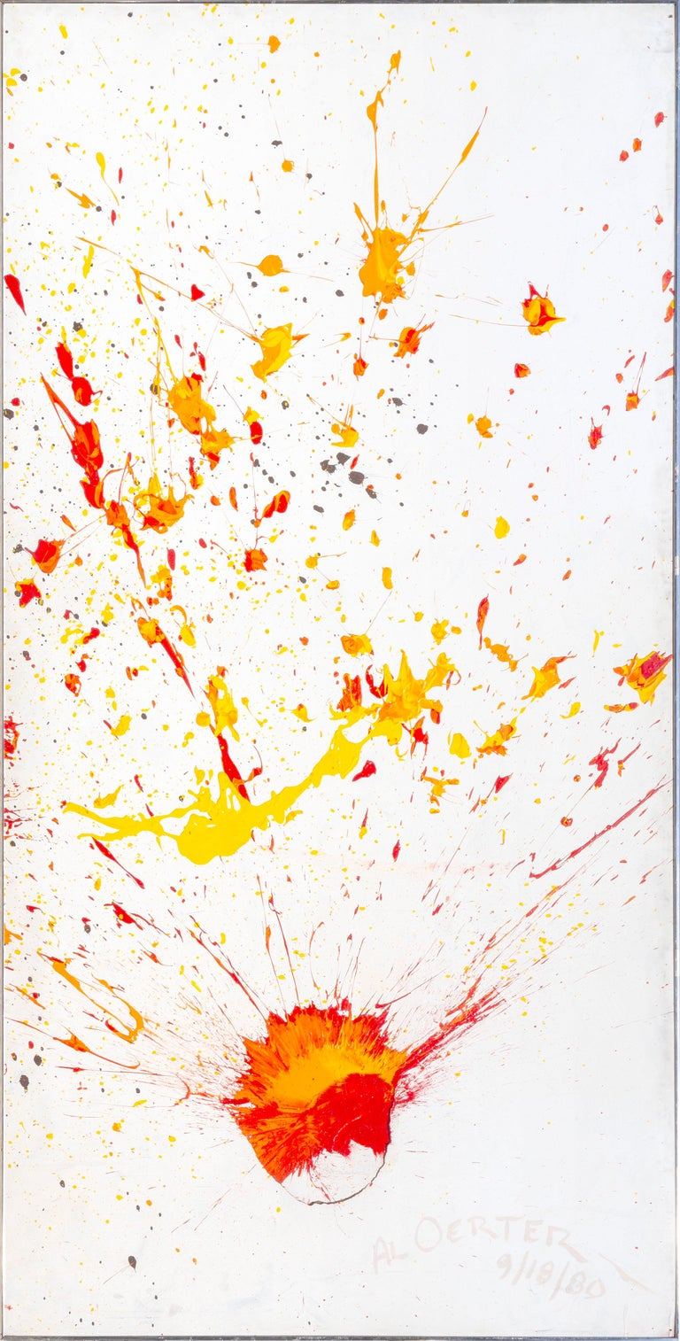 This painting was created by Olympic discus thrower Al Oerter for charity for the 1980 Olympics. At this time he developed the technique of pouring paint onto the canvas and then throwing his discus at the pooled up paint to create a splatter all