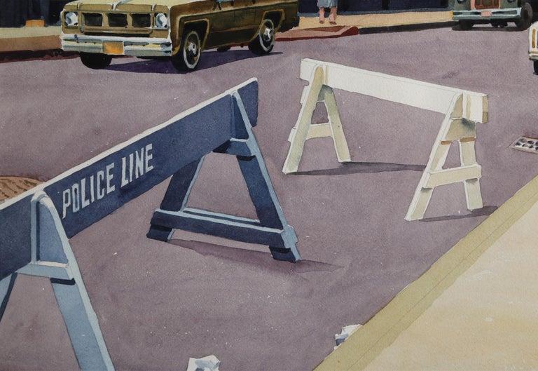 Police Line, New York City - Beige Landscape Art by Don David