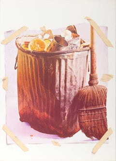 Trash Can, Photorealist Lithograph by Paul Sarkisian