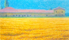 Wheat Field and House, Pastel Landscape