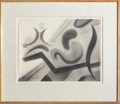 Modern Abstract Still-Life Drawing by Benjamin Benno 1961