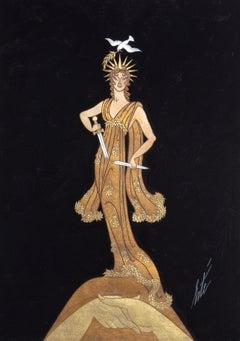 Statue de la Paix, Art Deco Gouache Painting by Erte