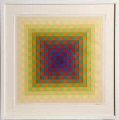 Colorful OP Art Silkscreen by Hugo Demarco