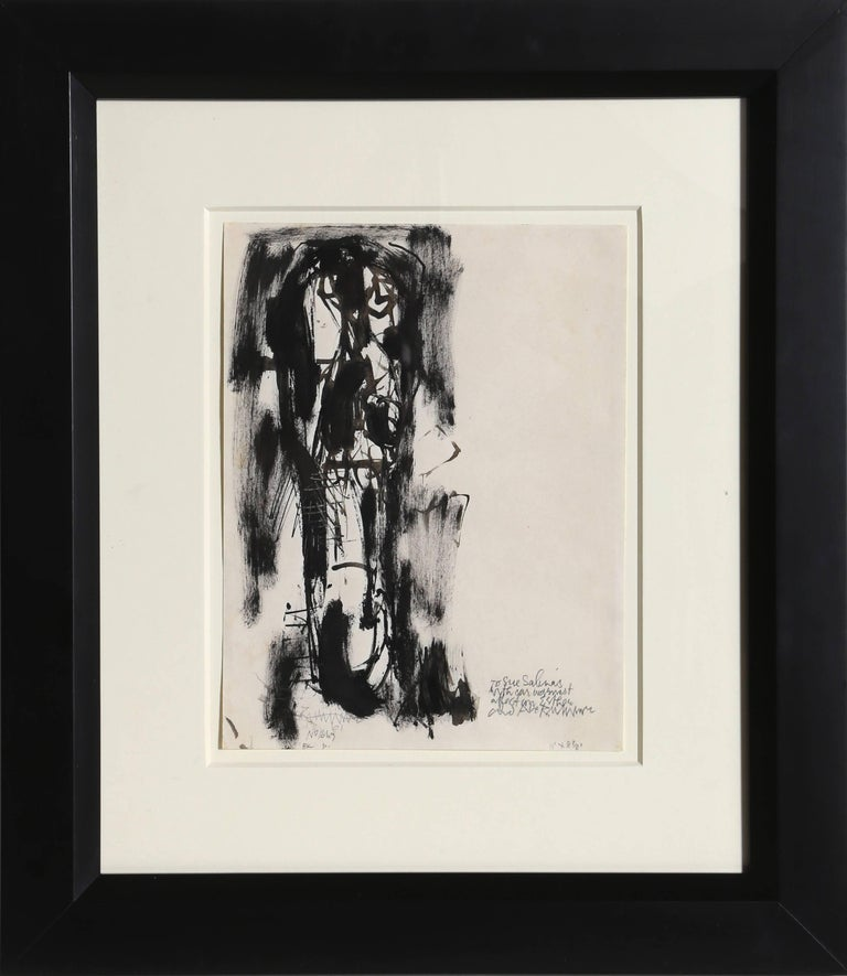 Artist: Abraham Rattner, American (1895 - 1978) Title: Man with Long Face Year:  1961 Medium: Ink and Wash on Paper, signed, dated and dedicated to Sue Salinas Size: 10 x 8.5 inches Frame Size: 20 x 17.5 inches