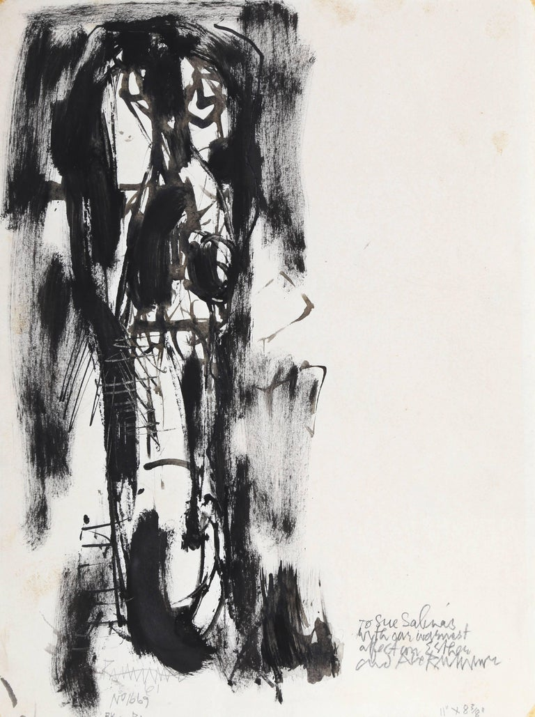 Man with Long Face, Ink and Wash on Paper by Abraham Rattner 1961 For Sale 1