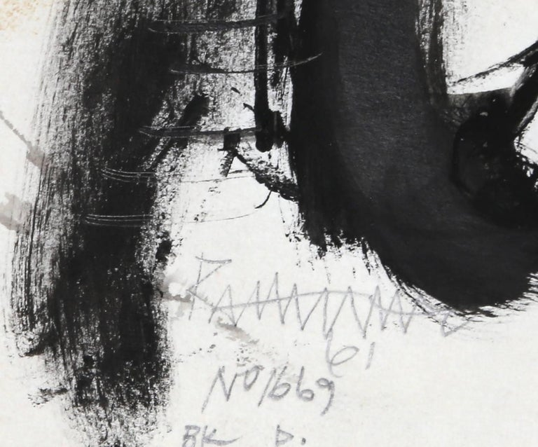 Man with Long Face, Ink and Wash on Paper by Abraham Rattner 1961 For Sale 2