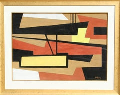Cubist Abstract, Gouache Painting by Marcel Salinas