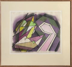 Still Life with Gray, Green, and Violet Cubist Drawing by Benjamin Benno 1953