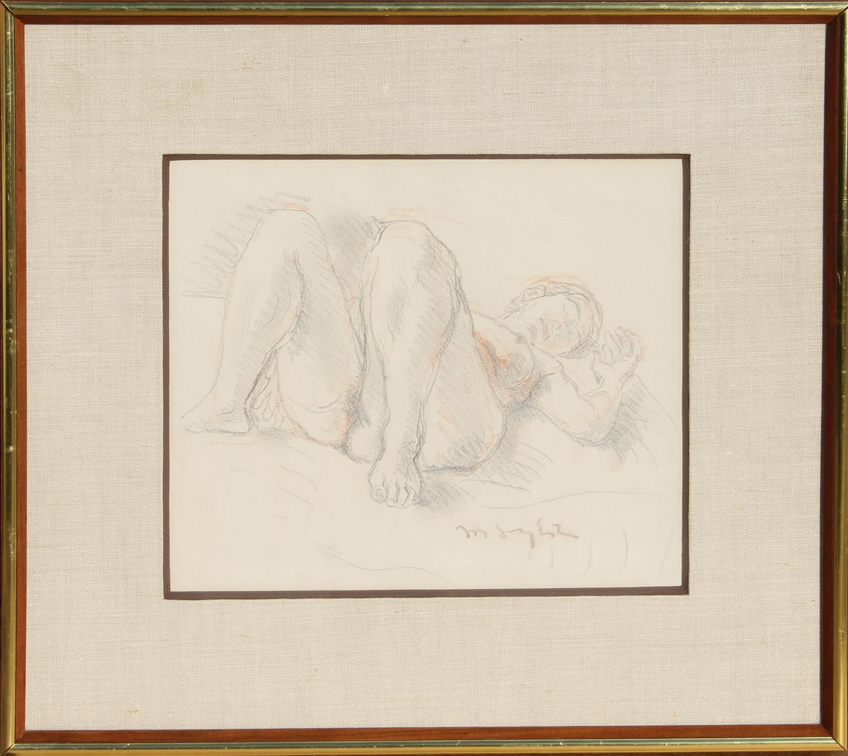 Reclining Nude, Original Drawing by Moses Soyer