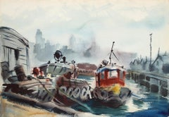 Tugboat and City Street, Double-sided Watercolor by Eve Nethercott