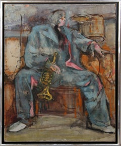 Trumpet Player, 1960's Oil Painting by Marshall Goodman
