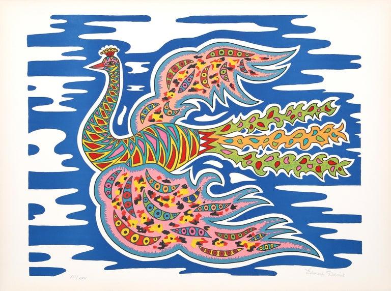 Édouard Dermit Figurative Print - Flying Peacock I