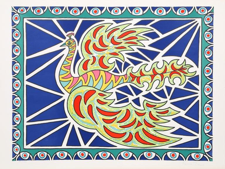 Édouard Dermit Figurative Print - Flying Peacock II