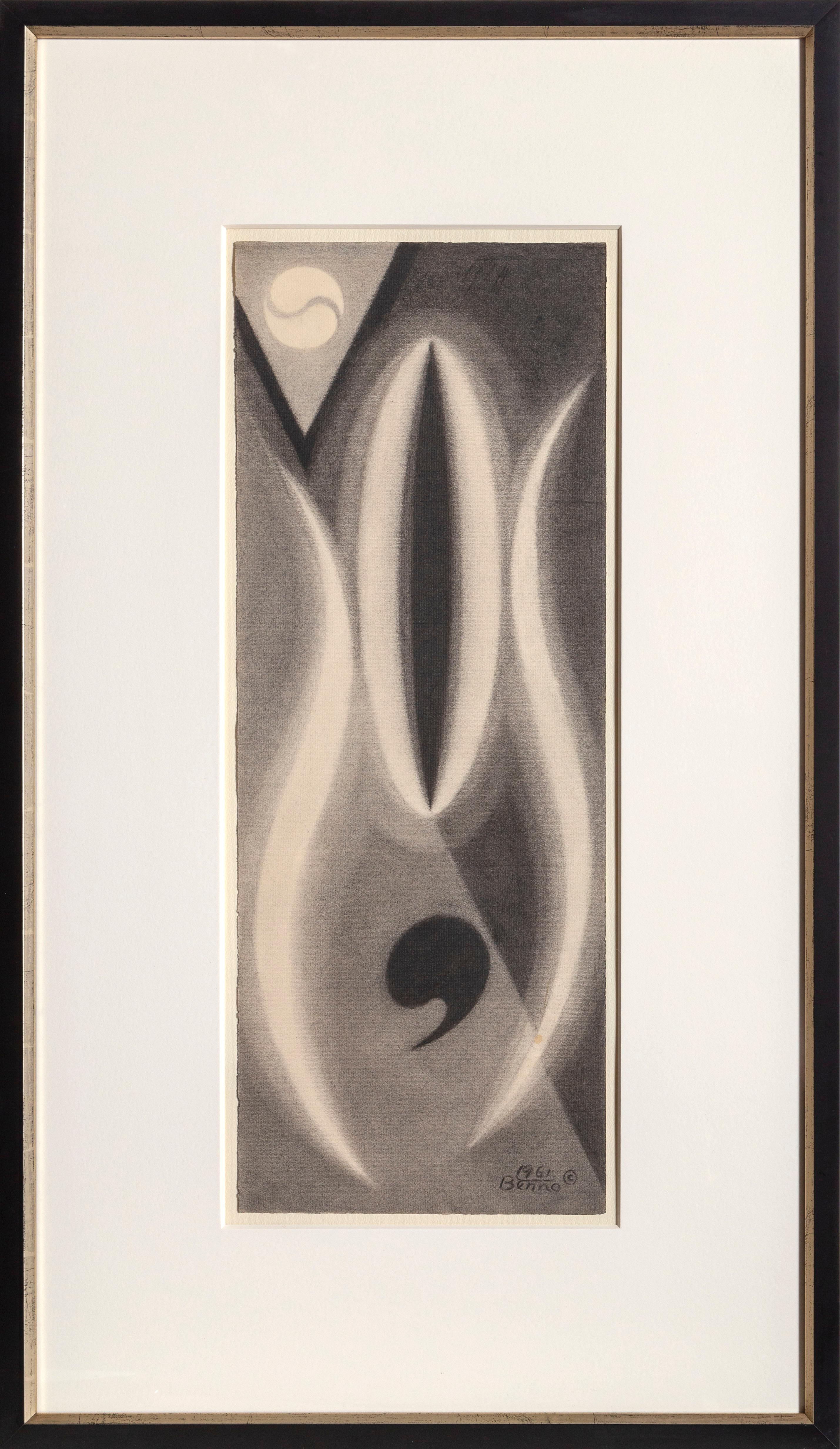 The Life of a Comma, Modern Abstract Still-Life Drawing by Benjamin Benno 1961