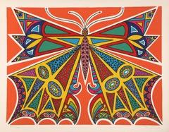 Butterfly, Art Deco Silkscreen by Edouard Dermit