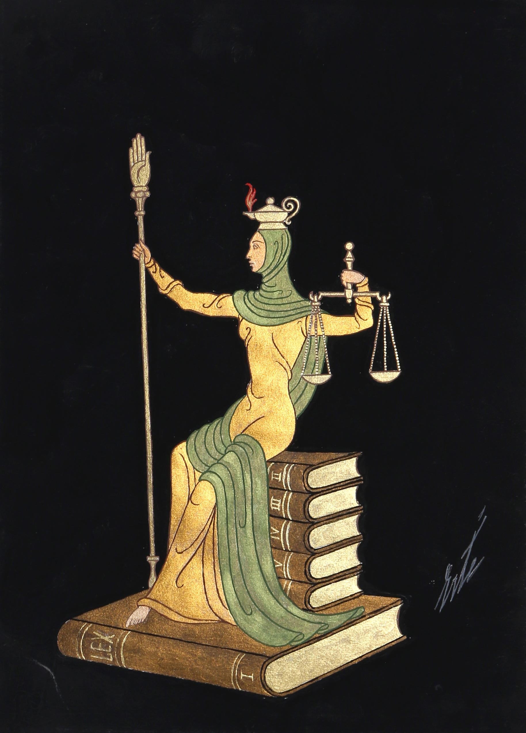 Lady Justice, Art Deco Gouache Painting by Erte