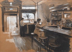 At the Bar, Restaurant Interior Painting by Harry McCormick