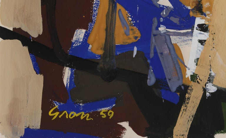 An Abstract expressionist gouache painting by American artist, Sid Gross.  Date: 1959 Gouache on paper, signed and dated lower right Image Size: 18.5 x 12 inches Frame Size: 28 x 22 inches