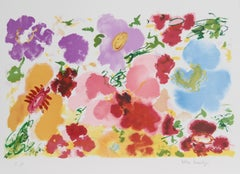 Red Petals, Flower Lithograph by Helen Covensky