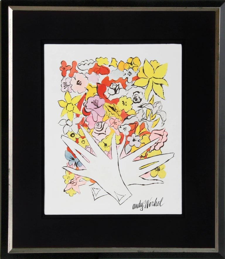 Artist: Andy Warhol, American (1928 - 1987) Title:Flowers and Gloves Year:Circa 1955 Medium:Ink and Watercolor, signed Paper Size:20 x 13 inches (50.8 x 33.02 cm) Frame Size: 23.5 x 20 inches (59.69 x 50.8 cm)  Registered with the Warhol