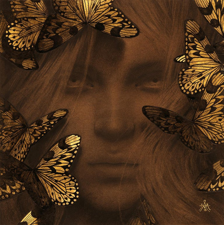 """Alessandra Maria Figurative Art - """"The Awakening"""" Contemporary Drawing with Gold-Leaf"""