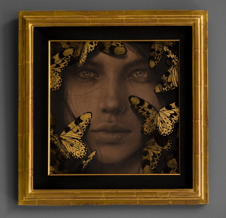 Reverie VI - Contemporary Drawing with Gold Leaf - Art by Alessandra Maria