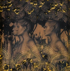 """Encounter in the Garden"" Contemporary Drawing with Gold-Leaf"