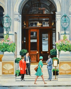 MANDARIN ORIENTAL HOTEL Hyde Park, London original  CITY  landscape painting