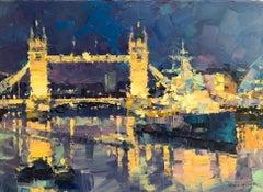 Nightfall, London Bridge  abstract city landscape painting