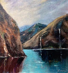 Mountain reflections Norway original landscape painting