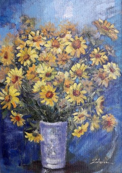 Yellow bouquet  original still life painting