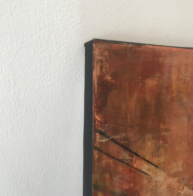 Im glad there is You original oil city landscape Contemporary Art 21st Century - Brown Abstract Painting by Nathan Neven