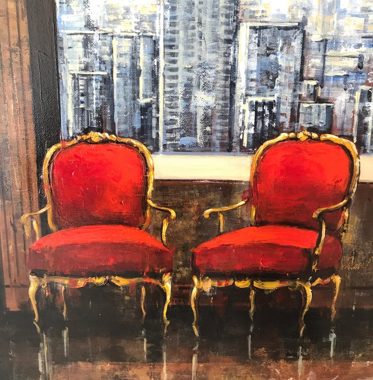 Im glad there is You original oil city landscape Contemporary Art 21st Century - Abstract Impressionist Painting by Nathan Neven