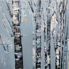 November Moon  original abstract forest painting Contemporary Art 21st Century