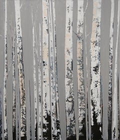 Black & White  original abstract birch trees painting Contemporary Art 21st Cent