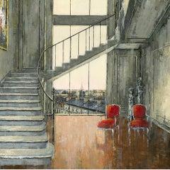 Love Paris original Landscape interior painting - Contemporary Art-21st Century