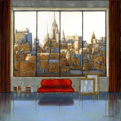 Love NY original Landscape interior painting - Contemporary Art-21st Century