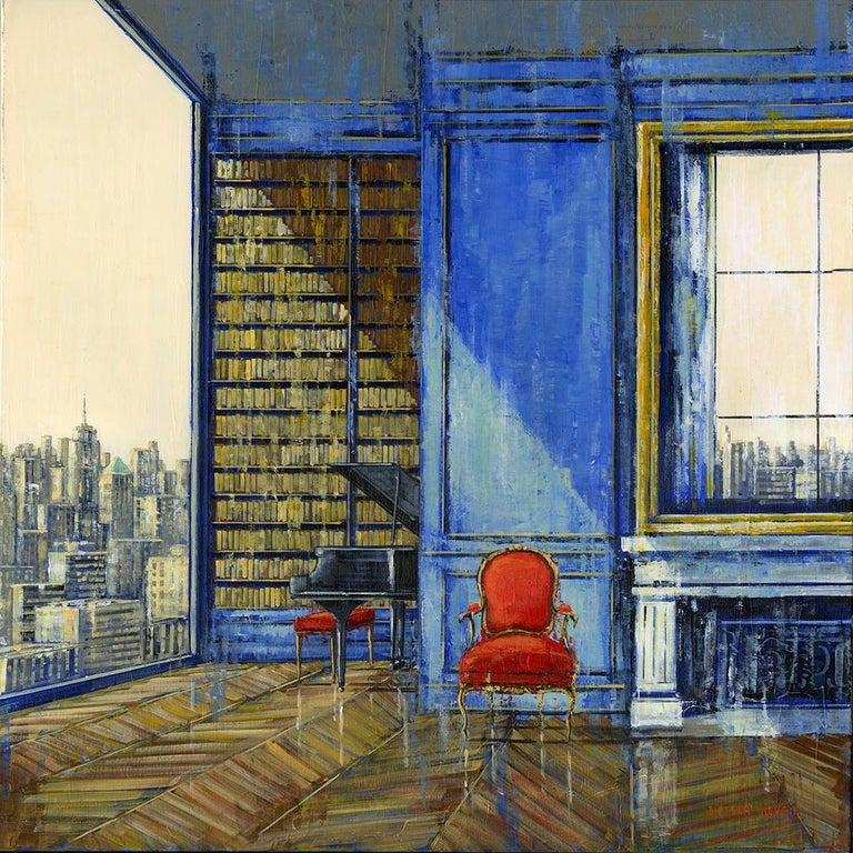 Nathan Neven Abstract Painting - Manhattan Mind original City Landscape interior painting - Contemporary Art