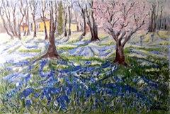 Blue Flower Carpet original forest landscape painting Contemporary Art