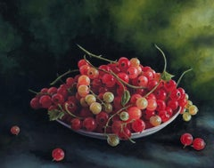 Red Currants original botanical realism painting Contemporary Art 21st Century