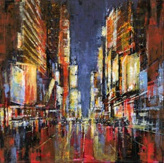 Vivid City original Landscape interior painting - Contemporary Art