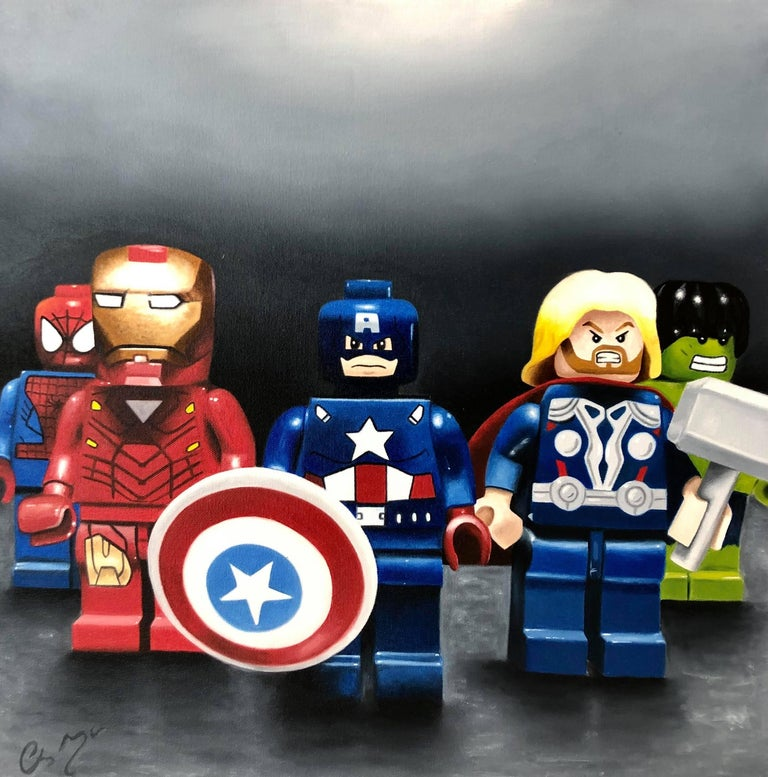 Chris Morgan Landscape Painting - super hero Lego original still life painting Contemporary  21st Century