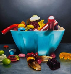 Blue Sweet Bowl original still life Sweets  painting Contemporary  21st Century