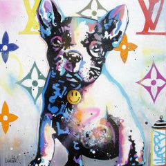 Luxury dog white, blue version original pop art  painting